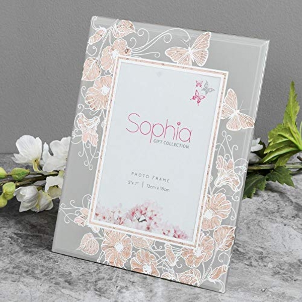 """5"""" x 7"""" - Sophia Rose Gold Collection Butterfly Photo Frame"""