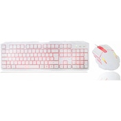 CiT Storm White Red Backlit Keyboard and Mouse kit with Red LED