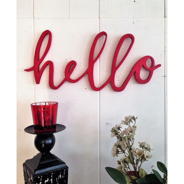Red Hello Red Decorative Wooden Wall Accessory