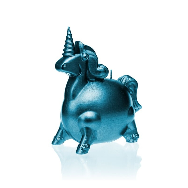 Blue Metallic Unicorn Candle
