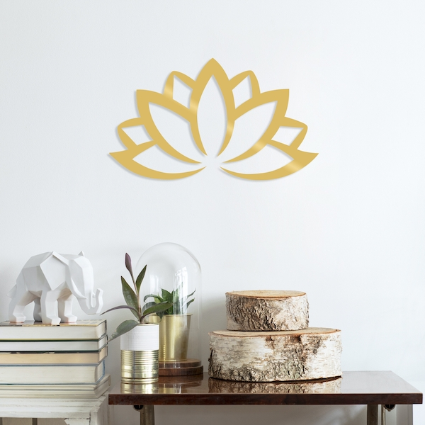 Lotus Flower 2 - Gold Gold Decorative Metal Wall Accessory