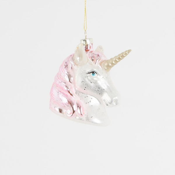 Sass & Belle Pink Shimmer Unicorn Head Shaped Bauble