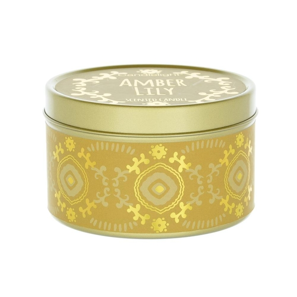 Candlelight Bohemian Large Tin Candle Amber Lily Scent
