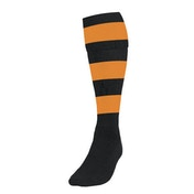 Precision Hooped Football Socks Mens Black/Amber