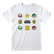 Super Mario - Items Large T-Shirt - White