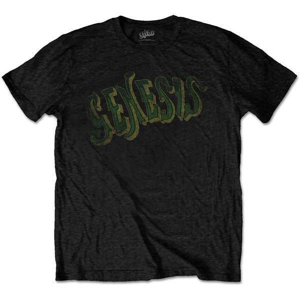 Genesis - Vintage Logo - Green Men's Large T-Shirt - Black