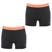 Lonsdale 2 Pack Mens Boxers Orange & Navy Medium