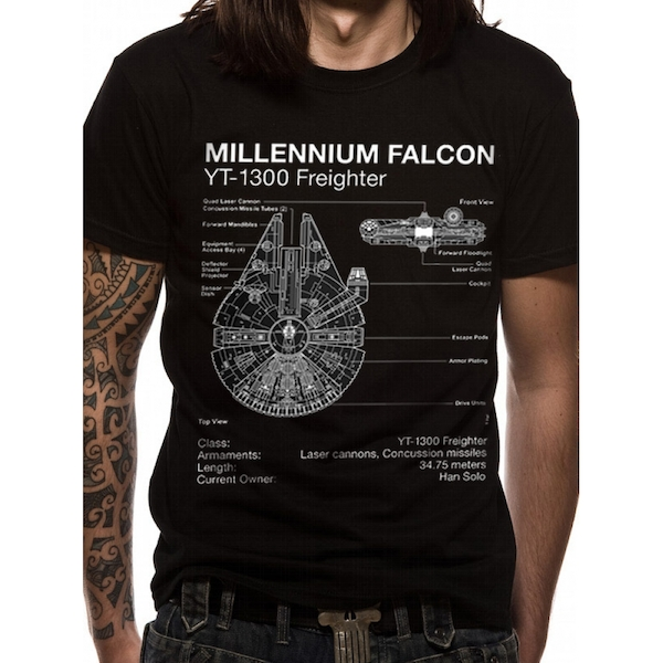 Star Wars - Falcon Blueprint Men's Small T-Shirt - Black