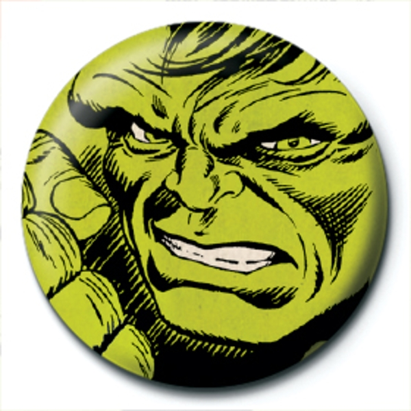 Marvel Retro - Hulk Face Badge - Image 1