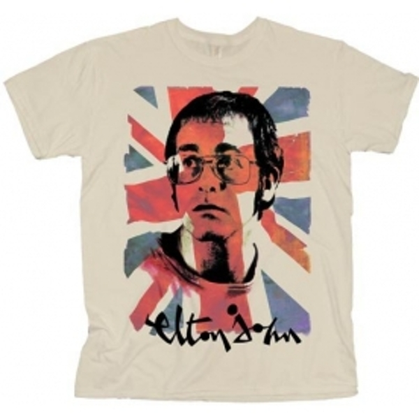 Elton John Union Jack Mens Natural TS: Large