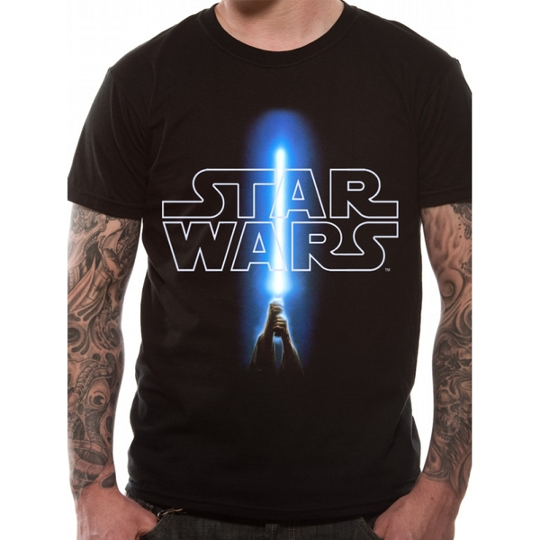 Star Wars - Logo And Saber Men's Small T-Shirt - Black