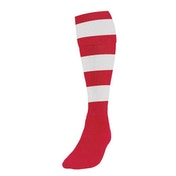 Precision Hooped Football Socks Large Boys Red/White