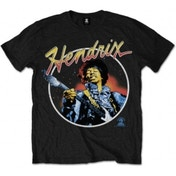 Jimi Hendrix Script Circle Mens Black T Shirt: X Large