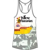 The Beatles Yellow Sub & Brollies White Ladies Vest: Large