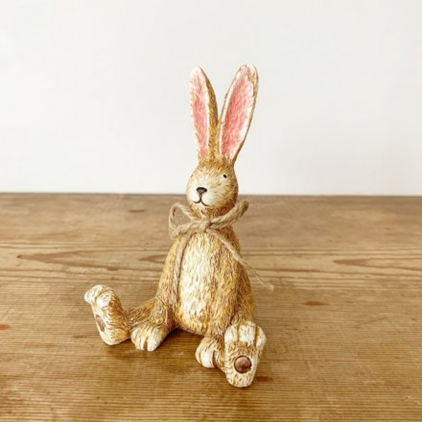Sitting Rabbit With Jute Bow