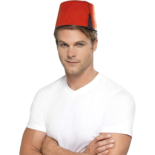 Fez Hat with Black Tassel (Red)