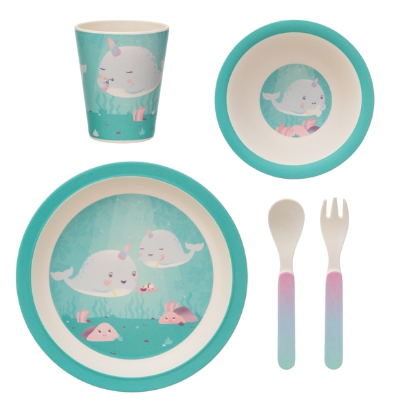 Sass & Belle Alma Narwhal Bamboo Tableware Set