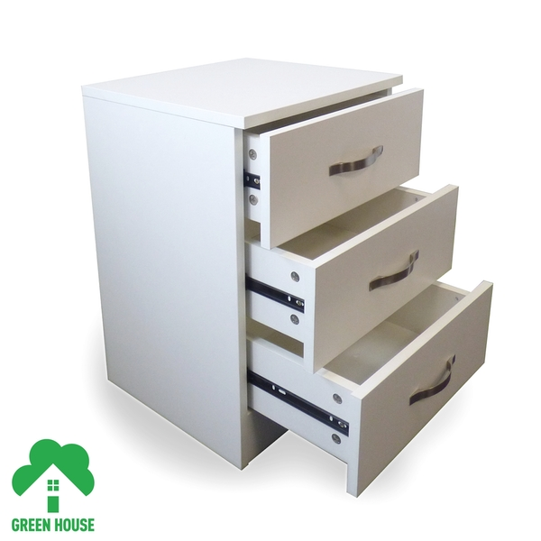 3 Chest Of Drawers White Bedside Cabinet Dressing Table Bedroom Furniture Wooden Green House - Image 2