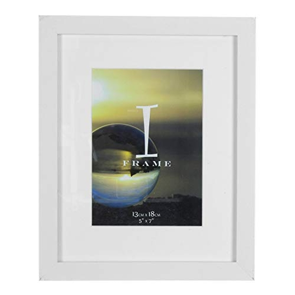 """5"""" x 7"""" - iFrame Solid White Wood Finish Frame with Mount"""