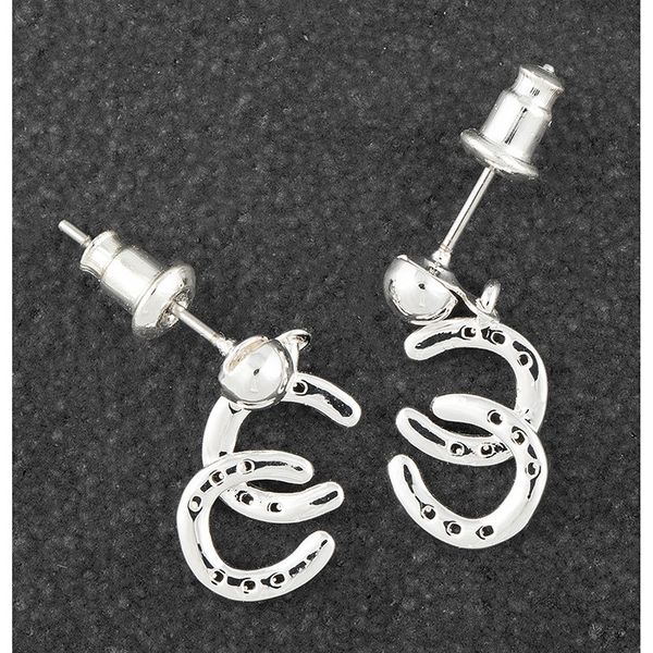 Country Silver Plated Horse Shoes Earrings