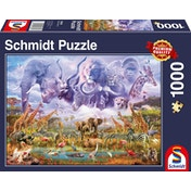 Schmidt Animals at The Watering Hole Jigsaw Puzzle - 1000 Pieces