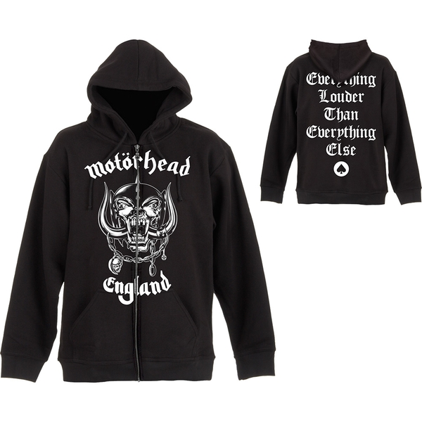 Motorhead - England Unisex Medium Zipped Hoodie - Black