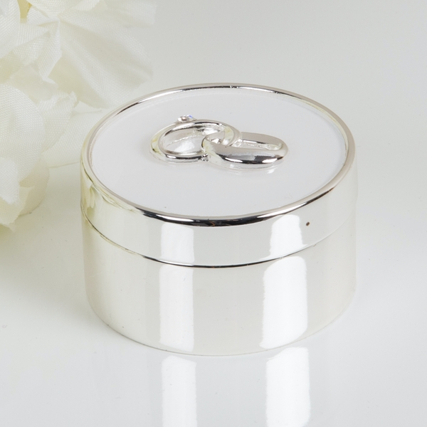 Amore Silver Plated & White Epoxy Ring Box