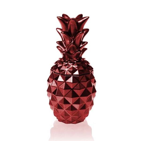 Red Metallic Concrete Pineapple For Her Candle