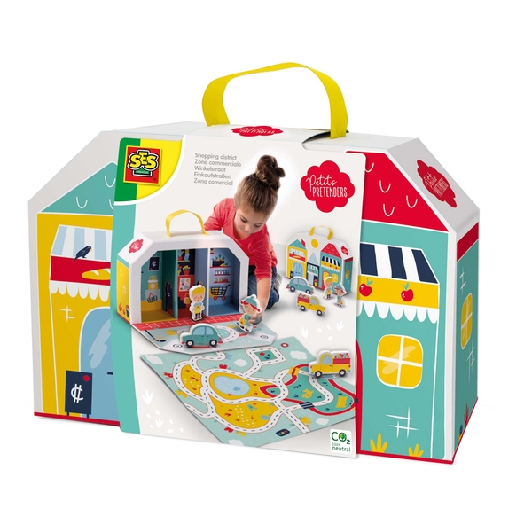 Ses Creative Petits Pretenders Children's Shopping District Play Suitcase and Play Mat- Unisex