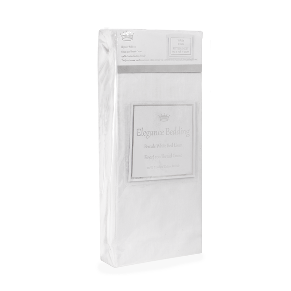 Victoria London Elegance Bedding T200 Fitted Sheet King White
