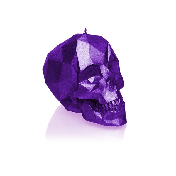Violet Metallic Small Low Poly Skull