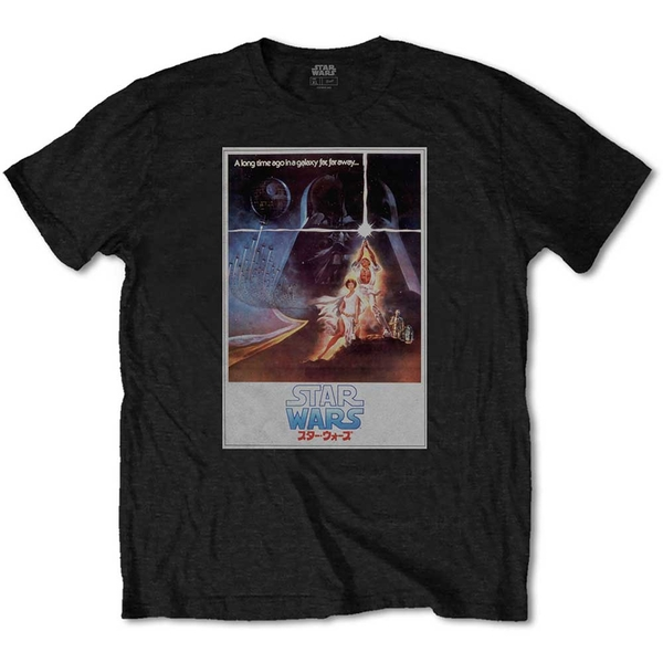 Star Wars - Old School Japanese Unisex X-Large T-Shirt - Black