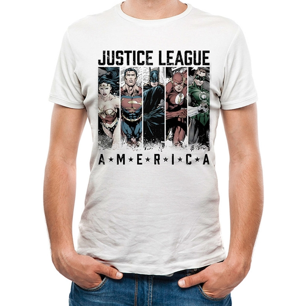 Justice League Comics - America Men's Large T-Shirt - White