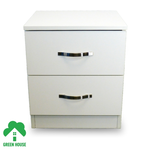 2 Chest Of Drawers White Bedside Cabinet Dressing Table Bedroom Furniture Wooden Green House - Image 1