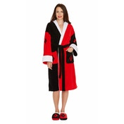 Harley Quinn DC Comics Black and Red Fleece Robe with Hood