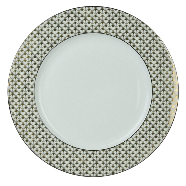 Deco Glam Dinner Plate with Square Detail Black and Gold 27cm