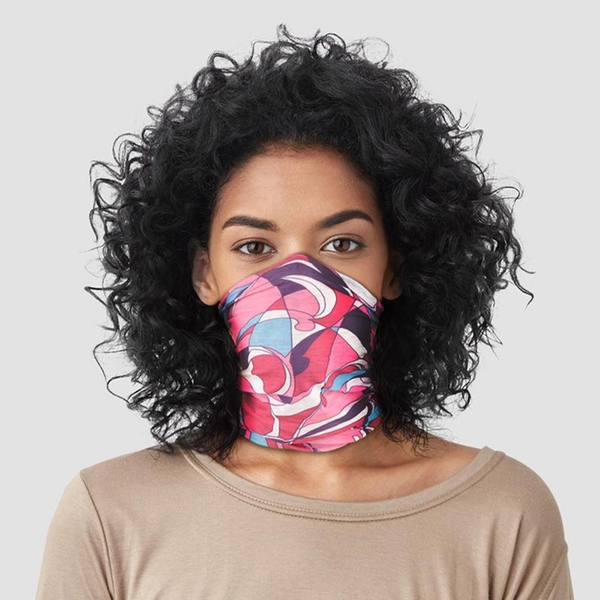 Pink Patterned Neck Scarf Face Covering