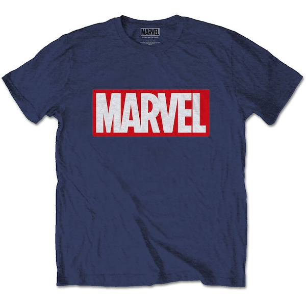 Marvel Comics - Marvel Box Logo Unisex Large T-Shirt - Blue