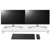 Adjustable Glass Monitor Stand Non-Slip Feet | M&W Clear Extra Large