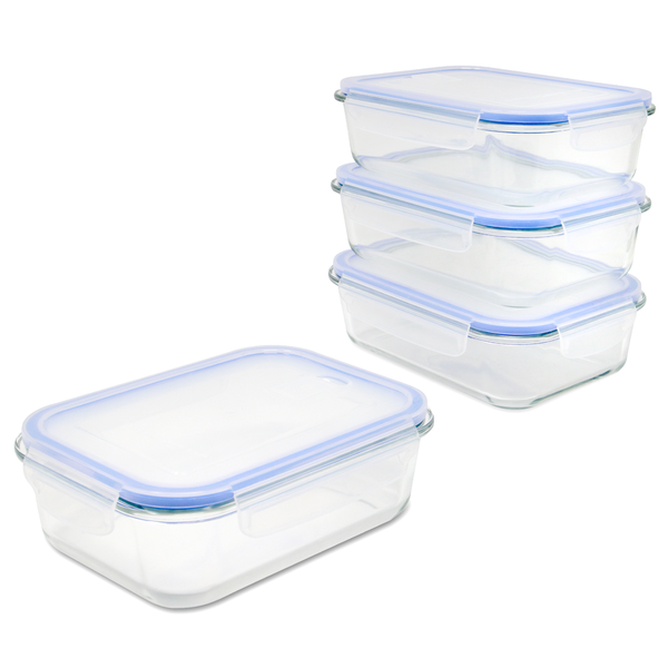 Set of 4 Glass Airtight Food Storage Containers | M&W