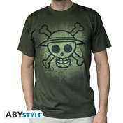 One Piece - Skull With Map Used Men's X-Large T-Shirt - Green