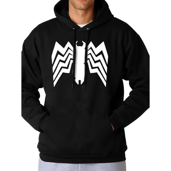 Spiderman Comics - Unisex Medium Venom Logo Full Length Hoodie (Black)