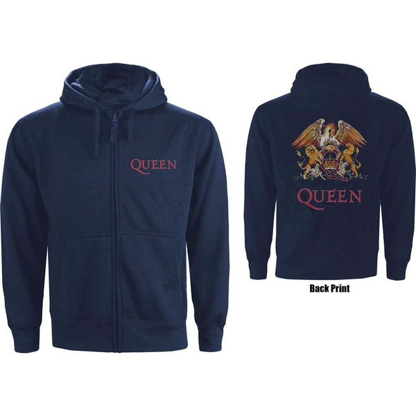 Queen - Classic Crest Unisex Small Zipped Hoodie - Blue