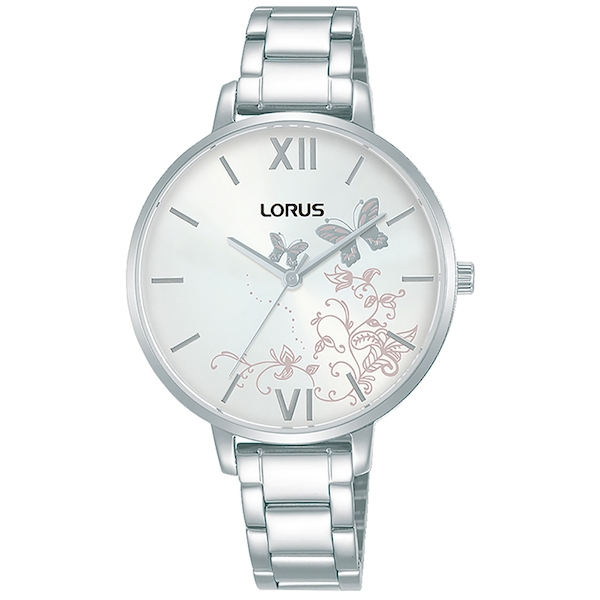 Lorus RG201TX9  Ladies Stainless Steel Bracelet Watch with White Patterned Dial
