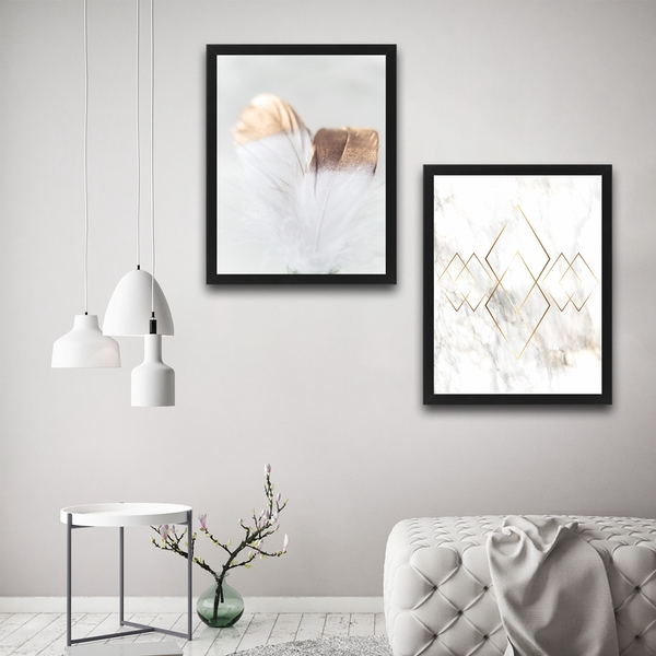 Gold 2 Set Multicolor Decorative Framed Painting (2 Pieces)
