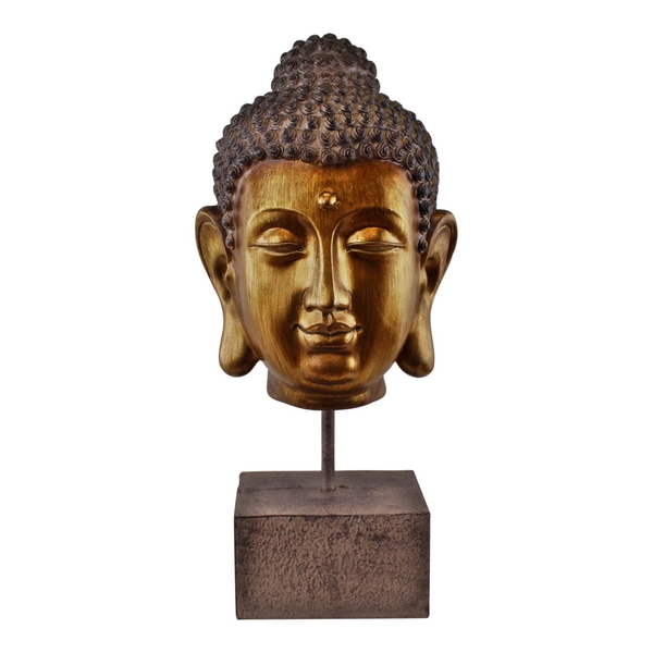 Ornamental Buddha Head on Stand, 35cm.