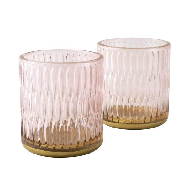 Set of Two Tealight Holders Textured Glass Dusky Pink in Gift Box