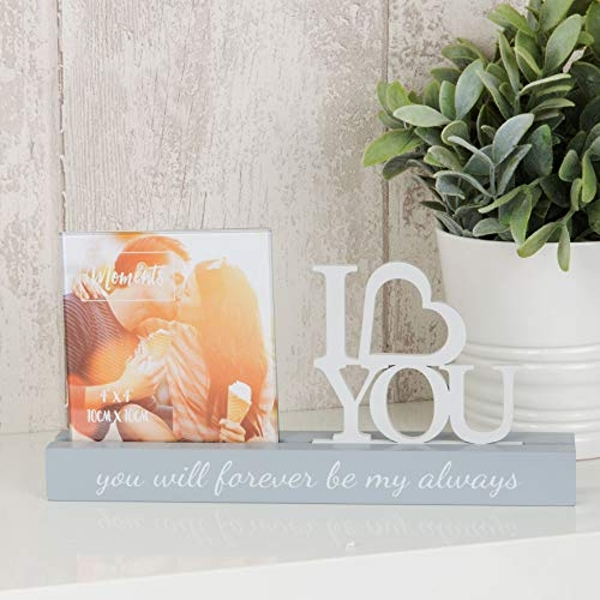 "4"" x 4"" - Celebrations Cut Out Photo Frame - I Love You"