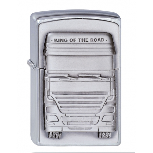 Zippo Unisex Adult Truckers King Of The Road Emblem Windproof Lighter Chrome