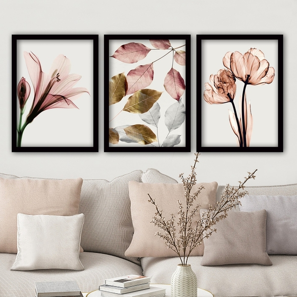 3SC194 Multicolor Decorative Framed Painting (3 Pieces)
